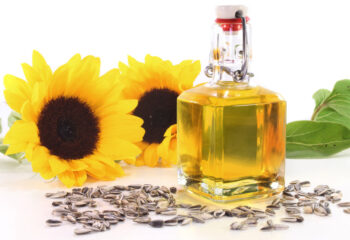 a bottle of sunflower oil with sunflower