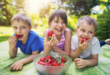 Three kids laughing, having fun on picnic and eating strawberries. Kids are lying on the front on the blanket in the garden, front yard or park. The girl is 10 and her brothers are 6 years old.